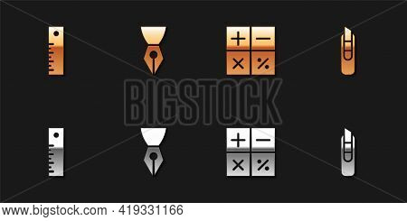 Set Ruler, Fountain Pen Nib, Calculator And Stationery Knife Icon. Vector