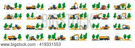 Set Of Construction Equipment Work At The Site. Collection Of Machines For Construction On A Landsca