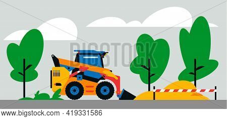 Construction Machinery Works At The Site. Construction Machinery, Compact Excavator, Loader On The B