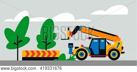 Construction Machinery Works At The Site. Construction Machinery, Telehandler On The Background Of A
