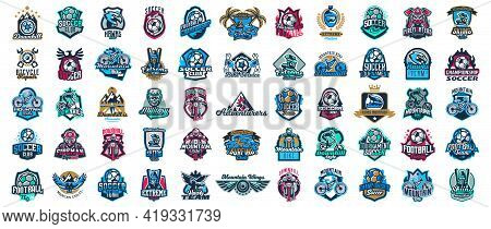 Huge Set Of Colorful Sports Logos, Emblems. Extreme And Team Sports Logos. Mountain Bike, Surfing, S