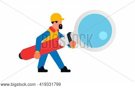 Worker Holding A Large Magnifying Glass. Builder With A Magnifying Glass. Search, Research, Study, I