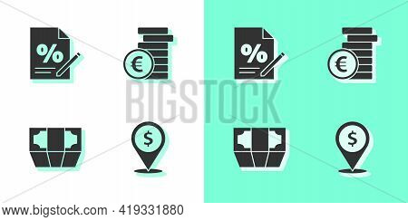 Set Cash Location, Finance Document, Stacks Paper Money Cash And Coin With Euro Symbol Icon. Vector