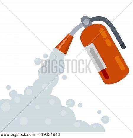 Extinguisher. Fireman Tool. Red Cylinder. Flat Cartoon Illustration