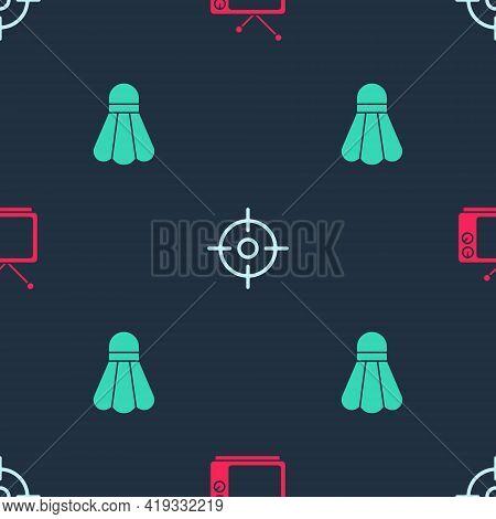 Set Retro Tv, Target Sport And Badminton Shuttlecock On Seamless Pattern. Vector