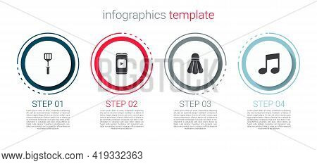 Set Spatula, Online Play Video, Badminton Shuttlecock And Music Note, Tone. Business Infographic Tem