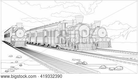 Vector Coloring Page With 3d Models Trains And Bright Landscape. Beautiful Vector Illustration With