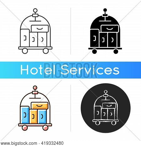 Porter Service Icon. Carrying Guest Luggage To The Guests Room. Escorting Guests To Their Room. Outl
