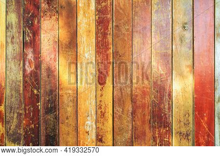 Vintage Old Wood Texture, Colorful Vertical Plank Background, Pattern Of Old Orange Vertical Wooden