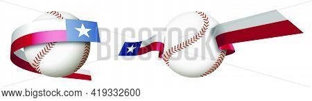 Baseball Sport Ball In Ribbons With Colors Of American State Of Texas. Design Element For Sport Comp