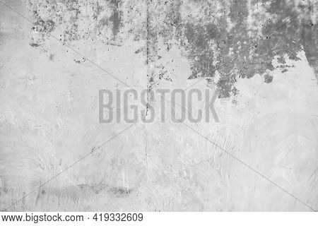 The Cement Wall Background Abstract. Gray Concrete Texture For Interior Design. White Grunge Cement