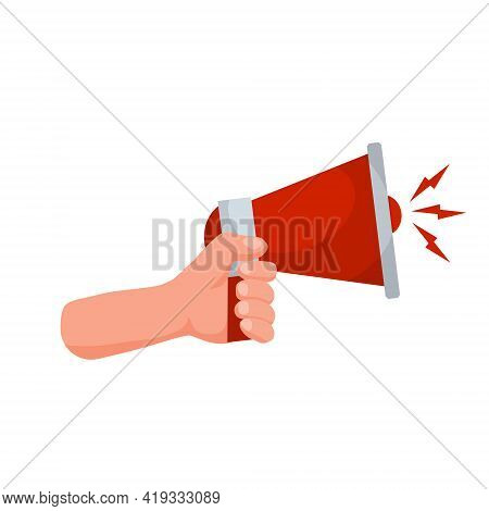 Hand Hold Speaker. Red Megaphone. Concept Of Alerts And News. Loud Sound And A Symbol Of Sale. Flat