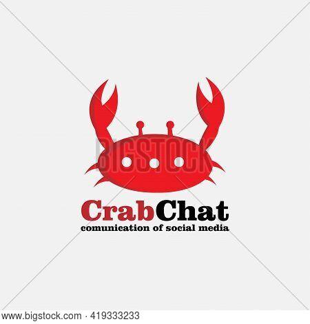 Crabs Chat Design Logo Vector. Crabs Animal Vector