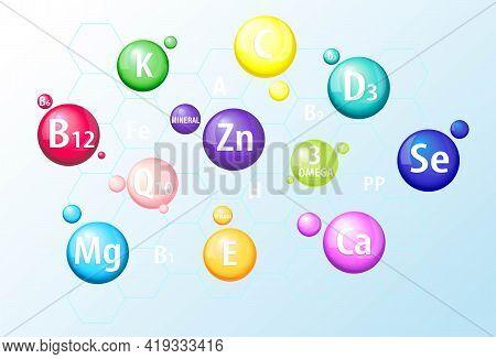 Vitamins, Minerals A, B12, C, D3, E, Selenium, Calcium, Magnesium, Zinc. Set Of 3d Icons. Capsules,