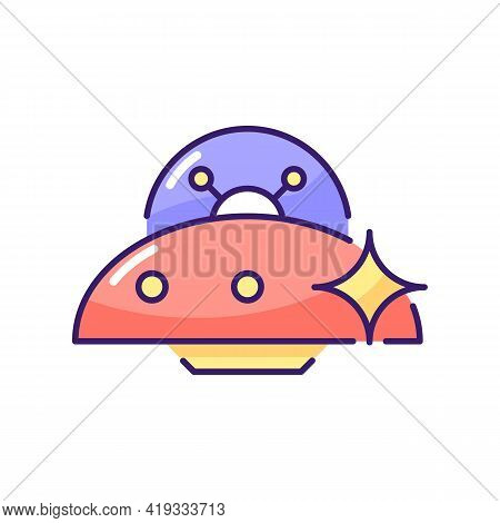 Ufo Rgb Color Icon. Unidentified Flying Object. Alien Ivasion. High Tech Technologies. Plate Shaped