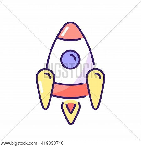Space Rocket Rgb Color Icon. Spacecraft Or Aircraft System Used To Travel Into Outer Space And Delie