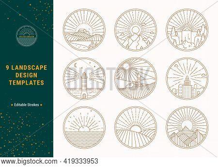 Landscape Linear Vector Illustrations Concept Set. Thin Line Nature, Ecotourism Clip Art Collection
