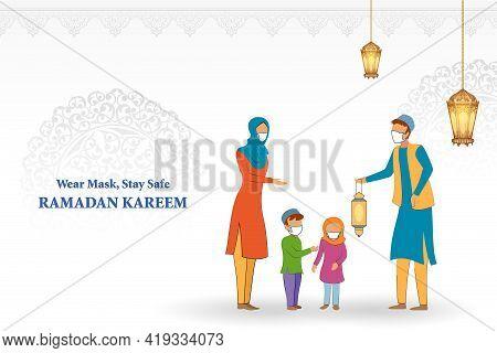 Ramadan Kareem Generous Ramadan Greetings In Arabic Freehand With Mosque For Islam Religious Festiva