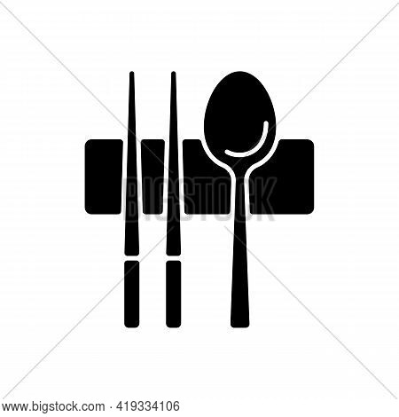 Sujeo Black Glyph Icon. Metal Chopsticks. Spoon For Eating. Oriental Tableware. Eastern Cutlery. Asi