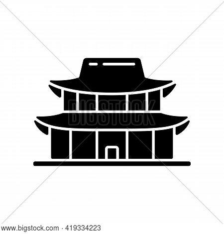 Gyeongbok Palace Black Glyph Icon. National Ethnic Architecture. Tourist Landmark For Sightseeing. S