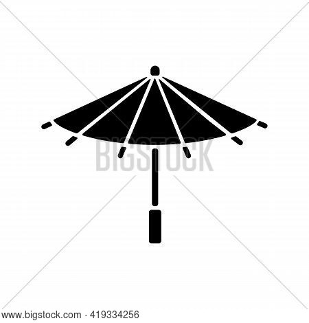 Korean Umbrella Black Glyph Icon. Bamboo And Paper Parasol. Ethnic Japanese Accessory. Seoul Travel,