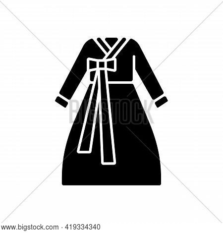 Hanbok Black Glyph Icon. National Asian Clothing. Oriental Dress For Women. Eastern Outfit. Ethnic F