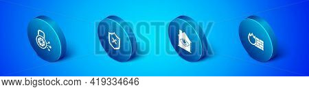 Set Isometric Cyber Security, House With Eye Scan, Firewall, Wall And Shield Cross Mark Icon. Vector