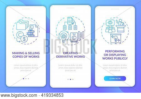 Exclusive Author Rights Onboarding Mobile App Page Screen With Concepts. Creating Derivative Works W