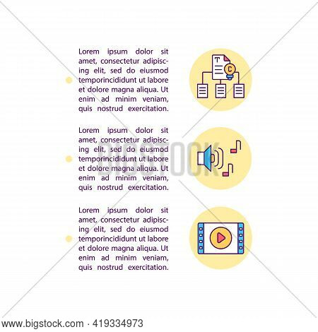 Reproduction And Creation Of Derivative Work Concept Line Icons With Text. Ppt Page Vector Template