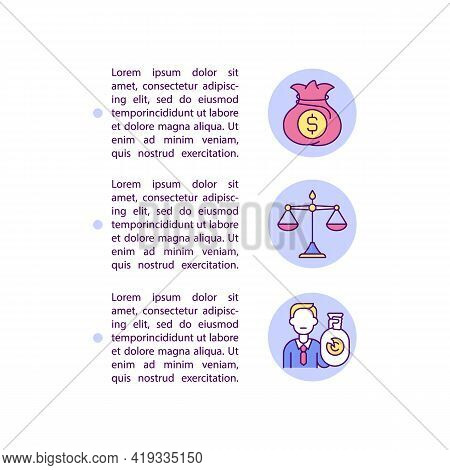 Civil Remedies For Infringement Concept Line Icons With Text. Ppt Page Vector Template With Copy Spa
