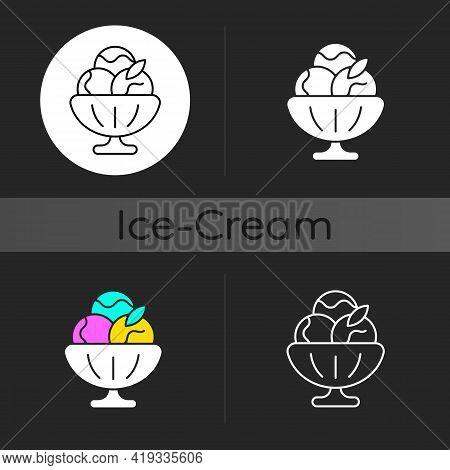 Sorbet Dark Theme Icon. Sherbet Ice Cream. Fruit-forward Frozen Treat. Sweetened Water And Frozen Fr