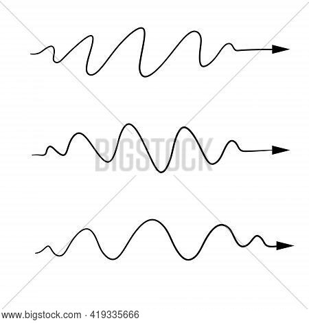 Wavy Line. Set Of Curved And Sinuous Arrows Of Different Shapes. Sketch Doodle Illustration