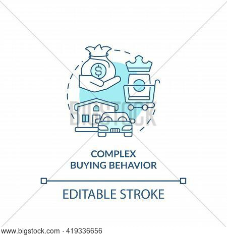 Complex Buying Behavior Concept Icon. Consumer Behavior Type Idea Thin Line Illustration. High Econo