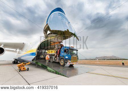 Santiago De Chile, Metropolitan Region, Chile, South America - November 23, 2016: A Big Truck With C