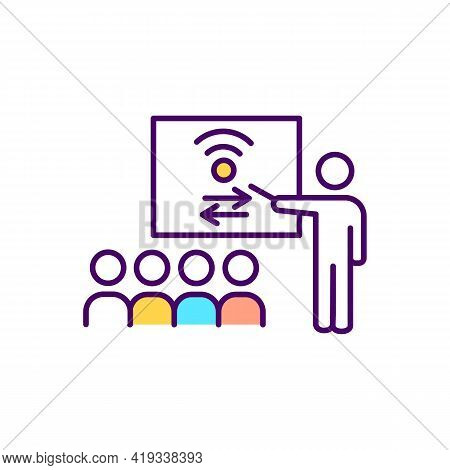 Civic Engagement Rgb Color Icon. Social Participation. Community Service Improvement With Digital In
