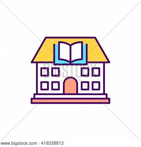 Library Building Rgb Color Icon. Educational Institution. University Course. Public School. College