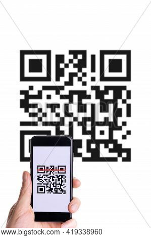 Pay Qr Code. Hand Holding Mobile Smartphone Screen For Payment, Online Pay, Scan Barcode With Qr Cod