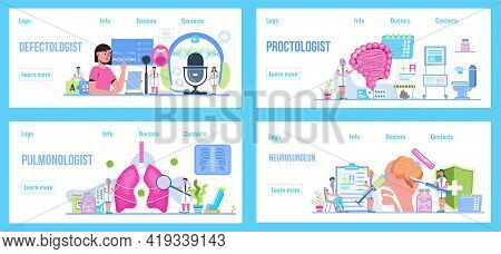 Pulmonologist, Phthisiologist Concept Vector For The Landing Page, Blog. Proctologist, Brain Problem