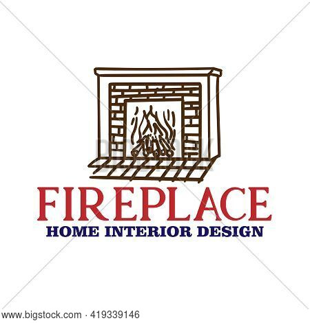 Fire Place Design Logo Vector. Fire Place Interior Design Vector