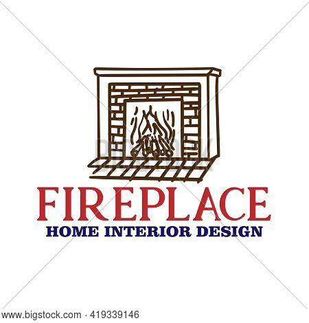 Fire Place Design Logo Vector. Fire Place Interior Design Vector