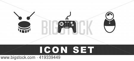 Set Drum With Drum Sticks, Gamepad And Tumbler Doll Toy Icon. Vector