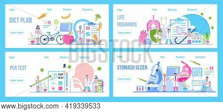 Diet Plan, Life Insurance, Pcr Test, Stomach Ucler Concept Vector Set For Medical Website, Landing P