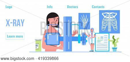 Radiography And X-ray Concept Vector For Header, Landing Page. Trauma, Pain, Osteoporosis Illustrati