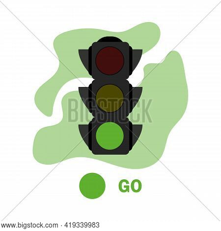Traffic Light Illustration With Green Color. Simple Stock Vector Illustration Isolated On White Back
