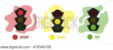 Traffic Light Set Illustration. Simple Stock Vector Illustration Isolated On White Background. Flat