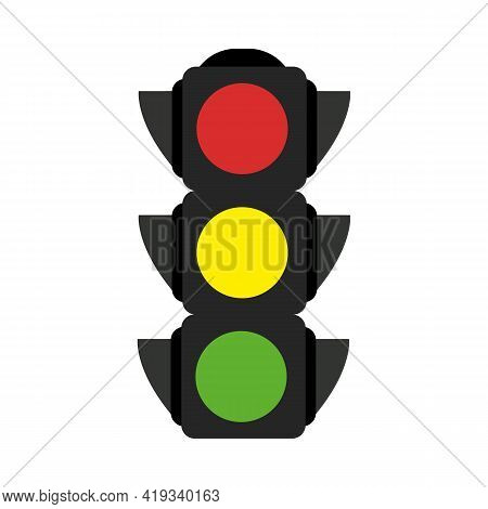 Simple Illustration Of A Traffic Light. Stock Vector Illustration Isolated On White Background. Flat