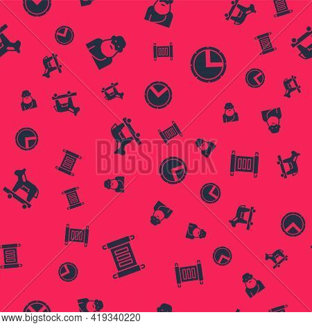 Set Decree, Parchment, Scroll, Socrates, Trojan Horse And Greek Shield On Seamless Pattern. Vector
