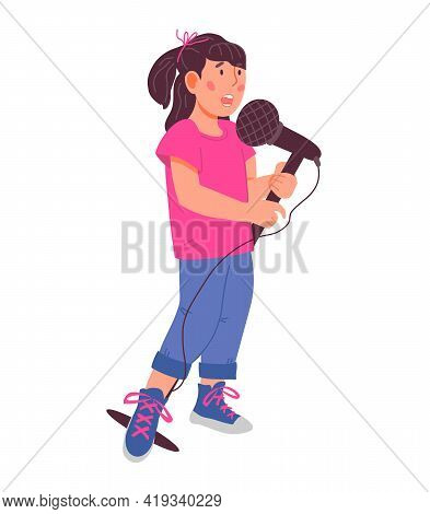 Cute Child Girl Cartoon Character Singing With Microphone. Children Music And Vocal Education Concep