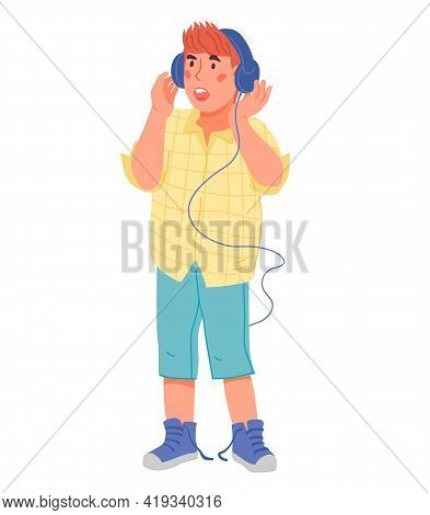 Cute Child Boy Singing In Headphones. Cartoon Character Of Singing Musical Kid. Children Music And V