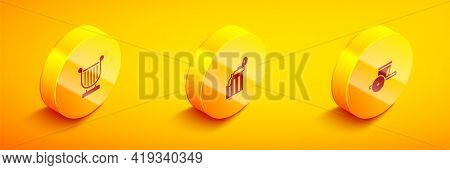 Set Isometric Ancient Lyre, Broken Ancient Column And Chariot Icon. Vector
